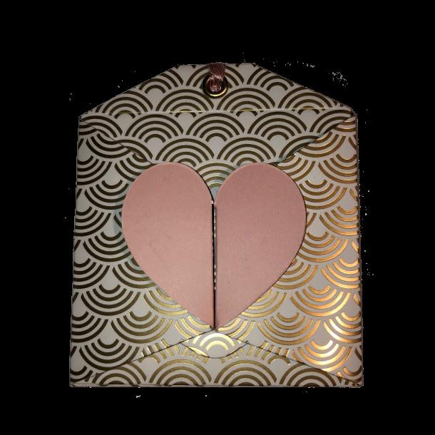 Artebene Gavekortkuvert lyserødt hjerte